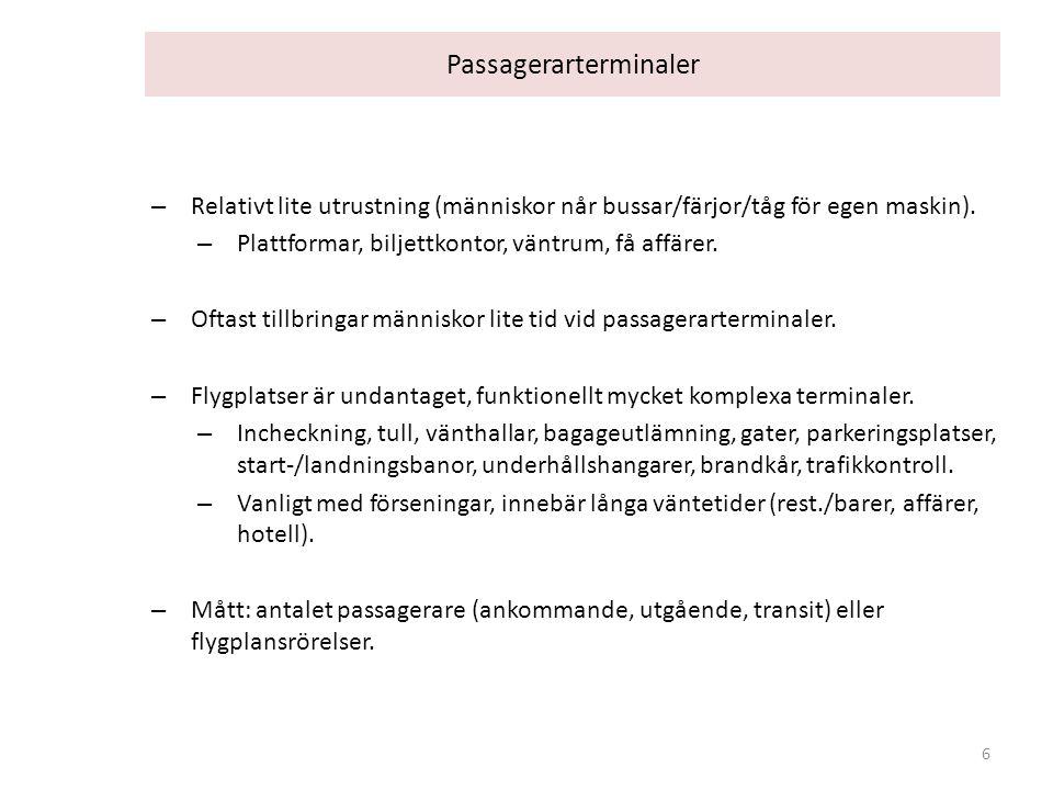 Passagerarterminaler – Relativt lite utrustning (människor når bussar/färjor/tåg för egen maskin). – Plattformar, biljettkontor, väntrum, få affärer.
