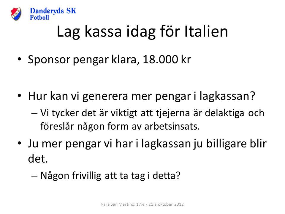 Lag kassa idag för Italien Sponsor pengar klara, 18.000 kr Hur kan vi generera mer pengar i lagkassan? – Vi tycker det är viktigt att tjejerna är dela