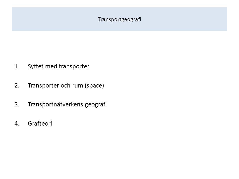 Transportgeografi… …är förknippat med rumslig interaktion som; i)beskriver, ii)förklarar, iii)optimerar och iv)förutsäger/prognostiserar förflyttningar av gods/människor mellan platser sammankopplade genom transportnätverk.