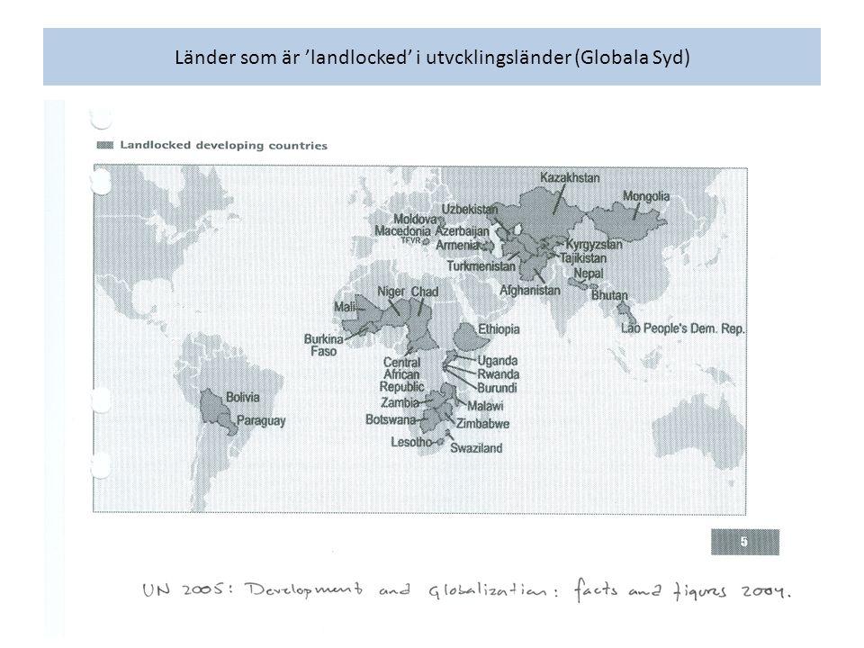Länder som är 'landlocked' i utvcklingsländer (Globala Syd)