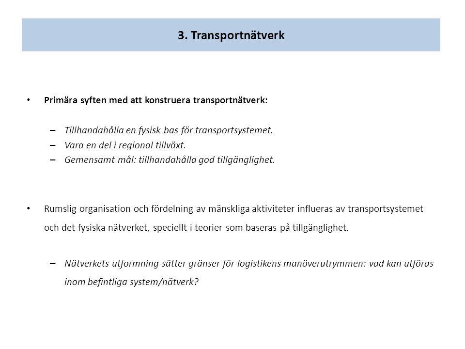 3. Transportnätverk Primära syften med att konstruera transportnätverk: – Tillhandahålla en fysisk bas för transportsystemet. – Vara en del i regional