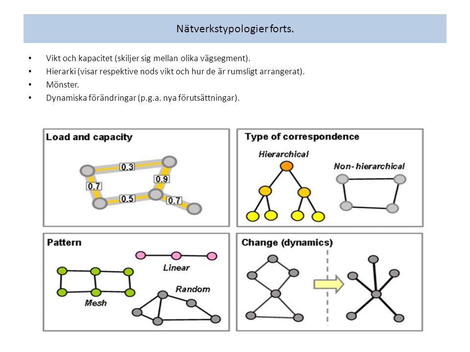 Vikt och kapacitet (skiljer sig mellan olika vägsegment). Hierarki (visar respektive nods vikt och hur de är rumsligt arrangerat). Mönster. Dynamiska