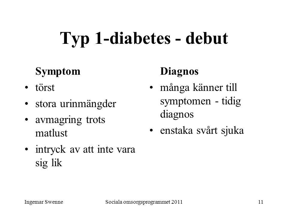 Ingemar SwenneSociala omsorgsprogrammet 201111 Typ 1-diabetes - debut Symptom törst stora urinmängder avmagring trots matlust intryck av att inte vara sig lik Diagnos många känner till symptomen - tidig diagnos enstaka svårt sjuka
