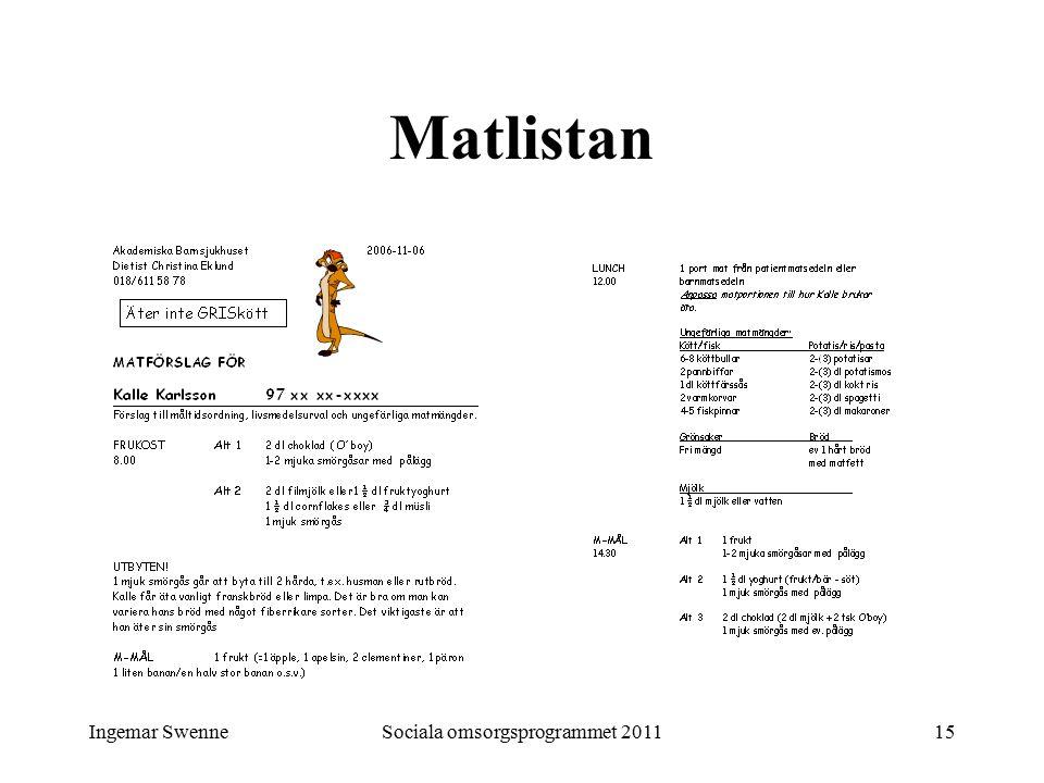 Ingemar SwenneSociala omsorgsprogrammet 201115 Matlistan