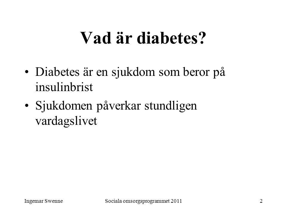 Ingemar SwenneSociala omsorgsprogrammet 20112 Vad är diabetes? Diabetes är en sjukdom som beror på insulinbrist Sjukdomen påverkar stundligen vardagsl