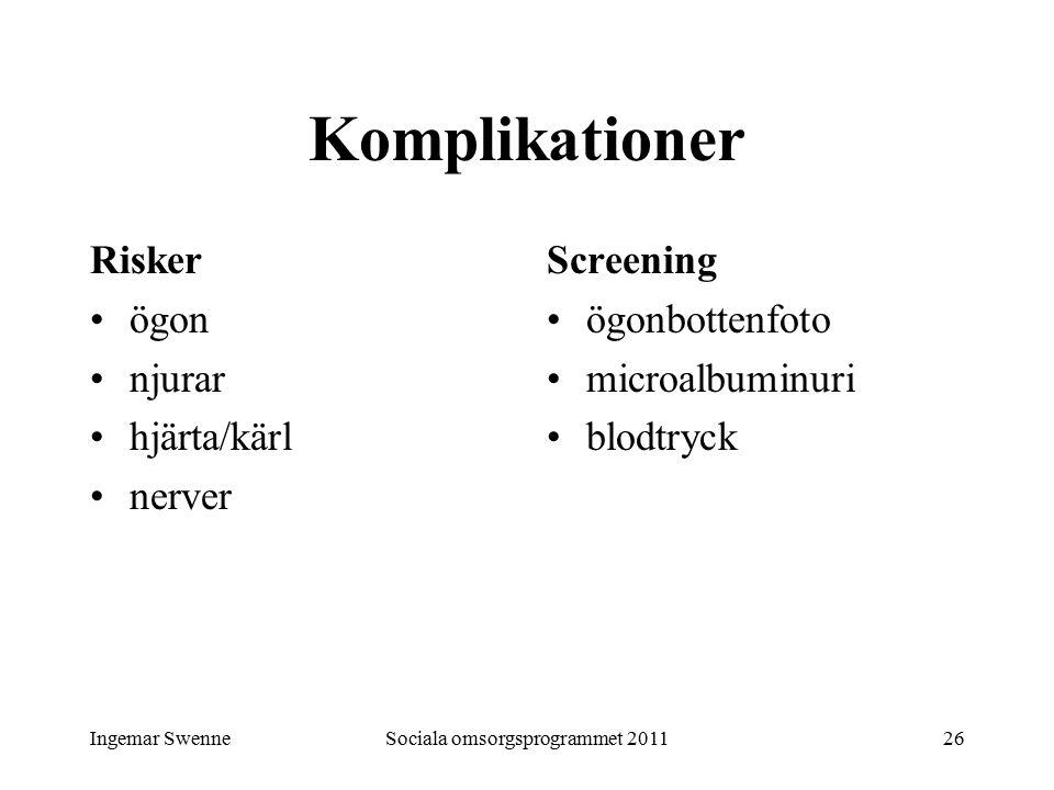 Ingemar SwenneSociala omsorgsprogrammet 201126 Komplikationer Risker ögon njurar hjärta/kärl nerver Screening ögonbottenfoto microalbuminuri blodtryck