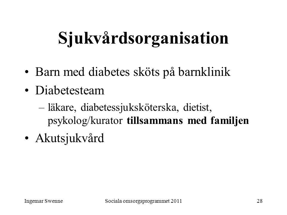 Ingemar SwenneSociala omsorgsprogrammet 201128 Sjukvårdsorganisation Barn med diabetes sköts på barnklinik Diabetesteam –läkare, diabetessjuksköterska, dietist, psykolog/kurator tillsammans med familjen Akutsjukvård