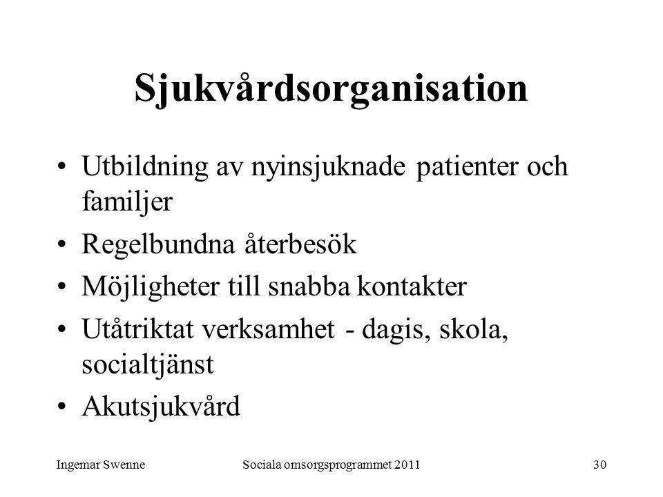 Ingemar SwenneSociala omsorgsprogrammet 201130 Sjukvårdsorganisation Utbildning av nyinsjuknade patienter och familjer Regelbundna återbesök Möjlighet