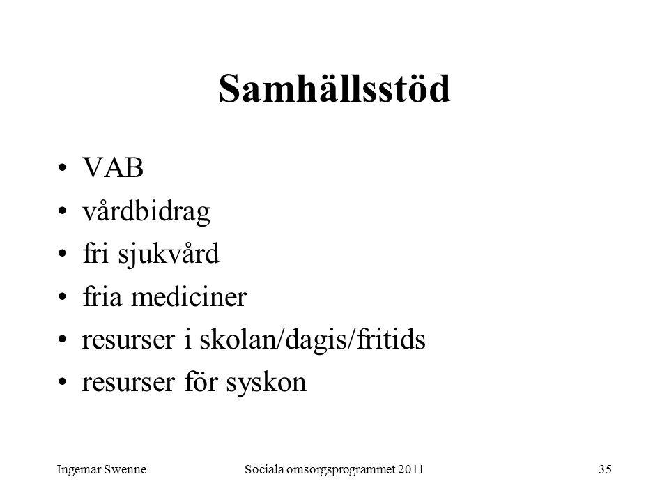 Ingemar SwenneSociala omsorgsprogrammet 201135 Samhällsstöd VAB vårdbidrag fri sjukvård fria mediciner resurser i skolan/dagis/fritids resurser för syskon