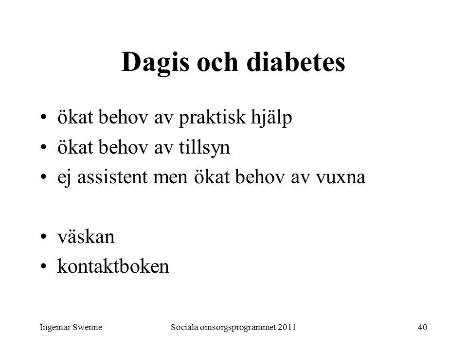 Ingemar SwenneSociala omsorgsprogrammet 201140 Dagis och diabetes ökat behov av praktisk hjälp ökat behov av tillsyn ej assistent men ökat behov av vu