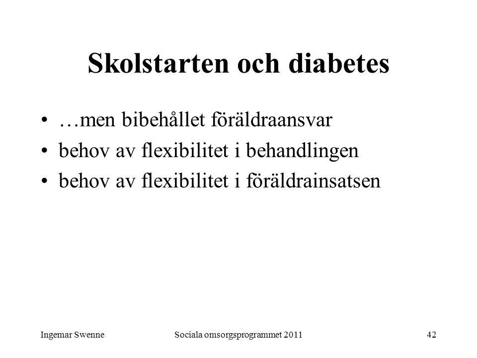 Ingemar SwenneSociala omsorgsprogrammet 201142 Skolstarten och diabetes …men bibehållet föräldraansvar behov av flexibilitet i behandlingen behov av f