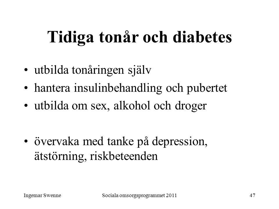 Ingemar SwenneSociala omsorgsprogrammet 201147 Tidiga tonår och diabetes utbilda tonåringen själv hantera insulinbehandling och pubertet utbilda om sex, alkohol och droger övervaka med tanke på depression, ätstörning, riskbeteenden