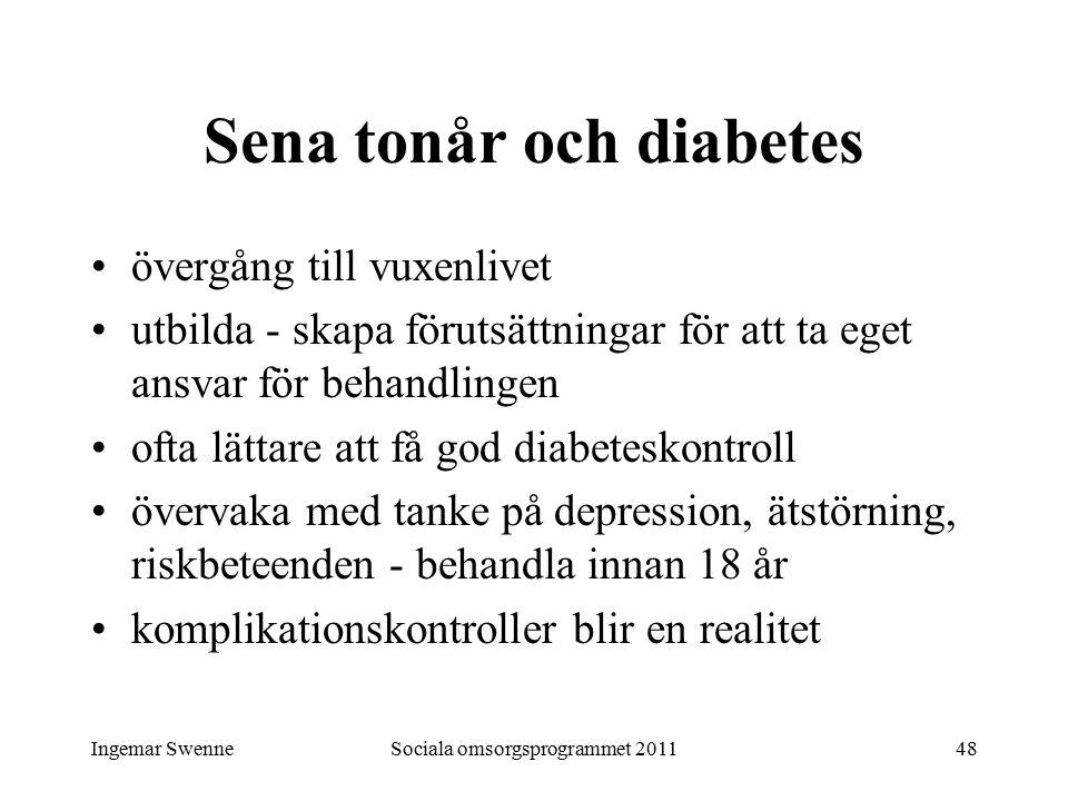 Ingemar SwenneSociala omsorgsprogrammet 201148 Sena tonår och diabetes övergång till vuxenlivet utbilda - skapa förutsättningar för att ta eget ansvar