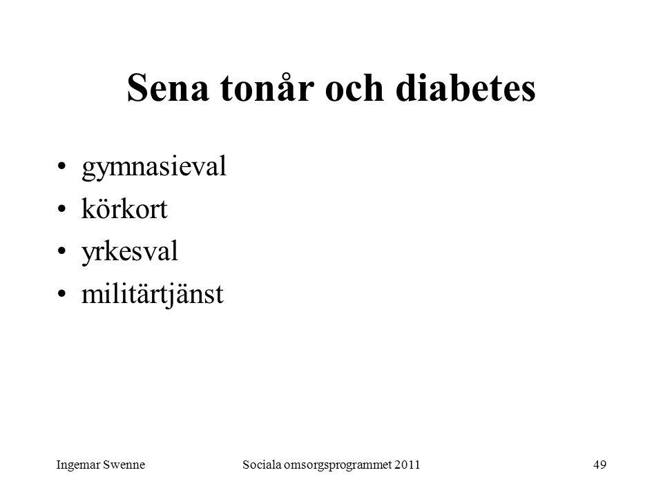 Ingemar SwenneSociala omsorgsprogrammet 201149 Sena tonår och diabetes gymnasieval körkort yrkesval militärtjänst