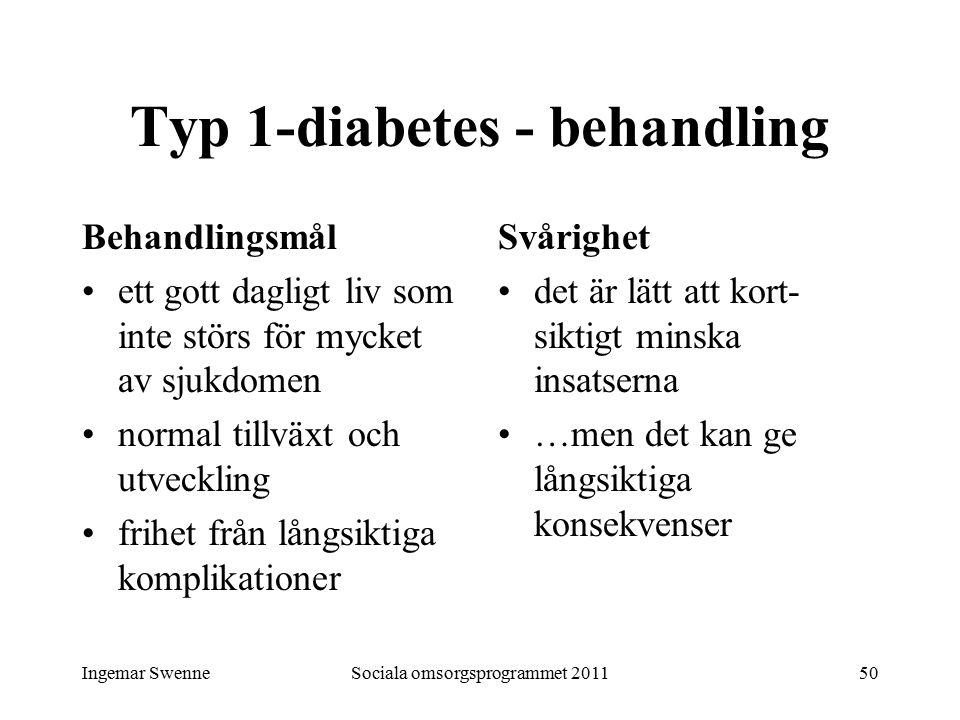 Ingemar SwenneSociala omsorgsprogrammet 201150 Typ 1-diabetes - behandling Behandlingsmål ett gott dagligt liv som inte störs för mycket av sjukdomen