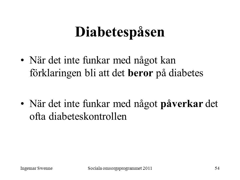 Ingemar SwenneSociala omsorgsprogrammet 201154 Diabetespåsen När det inte funkar med något kan förklaringen bli att det beror på diabetes När det inte funkar med något påverkar det ofta diabeteskontrollen