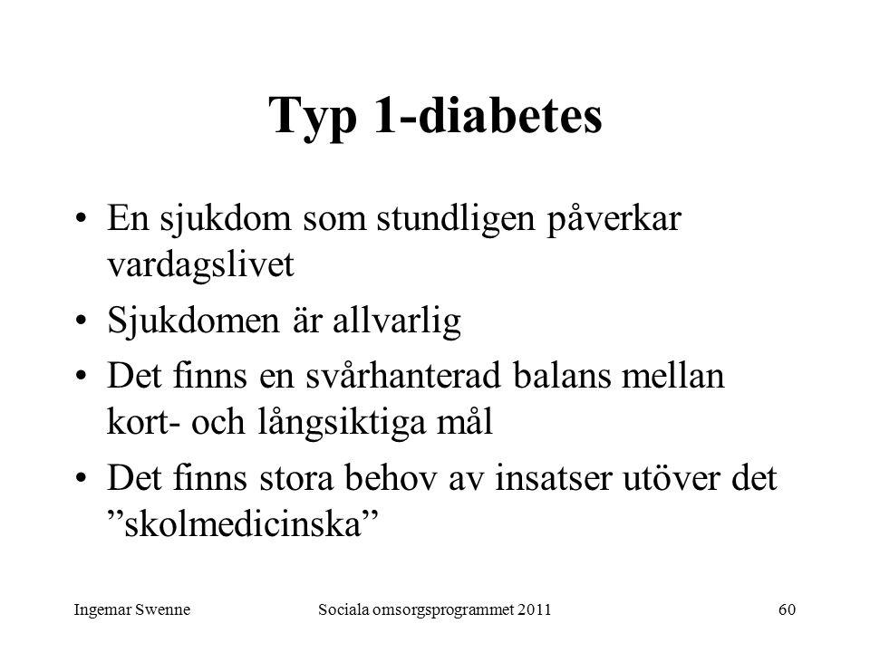 Ingemar SwenneSociala omsorgsprogrammet 201160 Typ 1-diabetes En sjukdom som stundligen påverkar vardagslivet Sjukdomen är allvarlig Det finns en svårhanterad balans mellan kort- och långsiktiga mål Det finns stora behov av insatser utöver det skolmedicinska