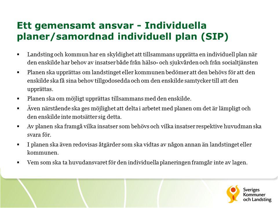 Ett gemensamt ansvar - Individuella planer/samordnad individuell plan (SIP)  Landsting och kommun har en skyldighet att tillsammans upprätta en individuell plan när den enskilde har behov av insatser både från hälso- och sjukvården och från socialtjänsten  Planen ska upprättas om landstinget eller kommunen bedömer att den behövs för att den enskilde ska få sina behov tillgodosedda och om den enskilde samtycker till att den upprättas.