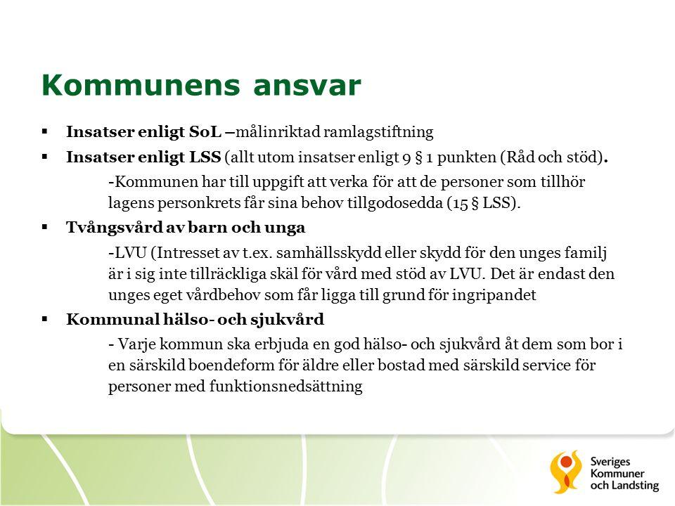 Kommunens ansvar  Insatser enligt SoL –målinriktad ramlagstiftning  Insatser enligt LSS (allt utom insatser enligt 9 § 1 punkten (Råd och stöd).