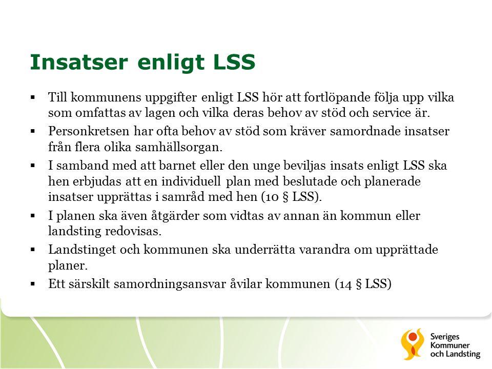 Insatser enligt LSS  Till kommunens uppgifter enligt LSS hör att fortlöpande följa upp vilka som omfattas av lagen och vilka deras behov av stöd och service är.