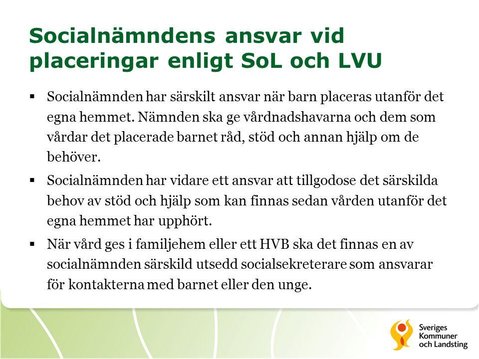 Socialnämndens ansvar vid placeringar enligt SoL och LVU  Socialnämnden har särskilt ansvar när barn placeras utanför det egna hemmet.
