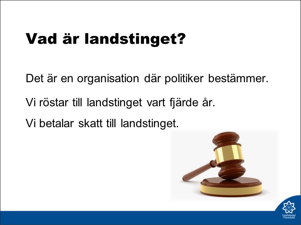 Vad är landstinget. Det är en organisation där politiker bestämmer.
