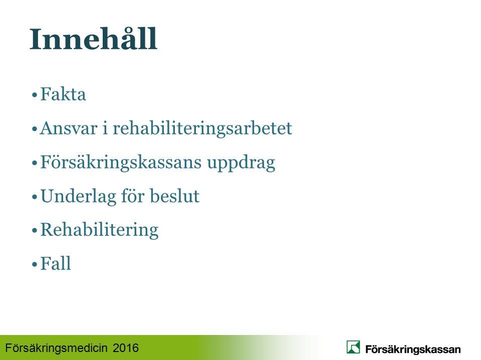Försäkringsmedicin 2016 Innehåll Fakta Ansvar i rehabiliteringsarbetet Försäkringskassans uppdrag Underlag för beslut Rehabilitering Fall