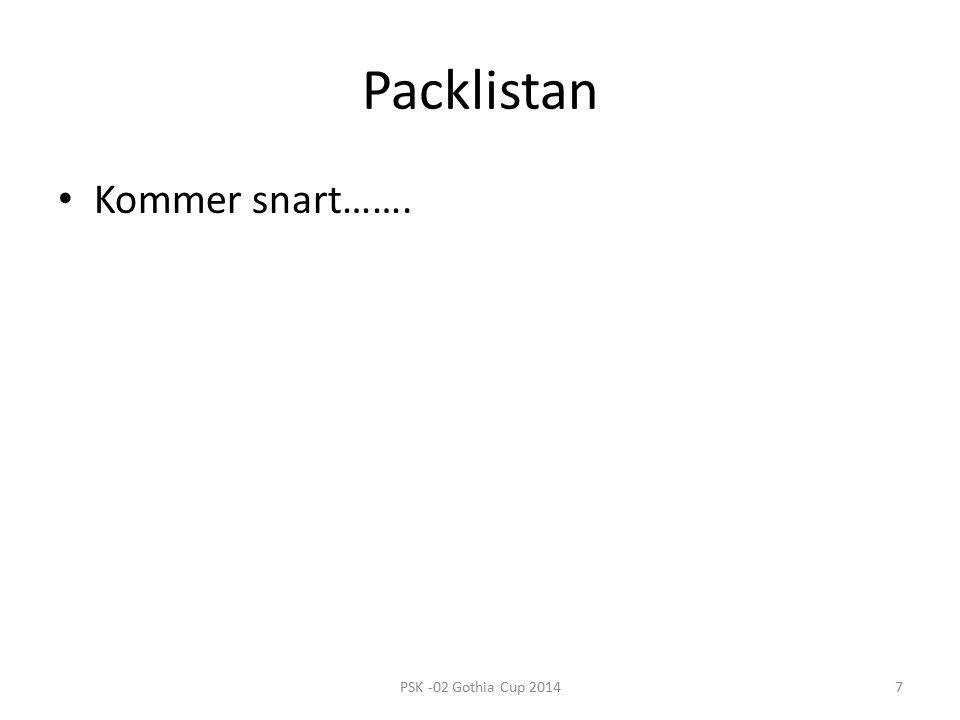 Packlistan Kommer snart……. 7PSK -02 Gothia Cup 2014