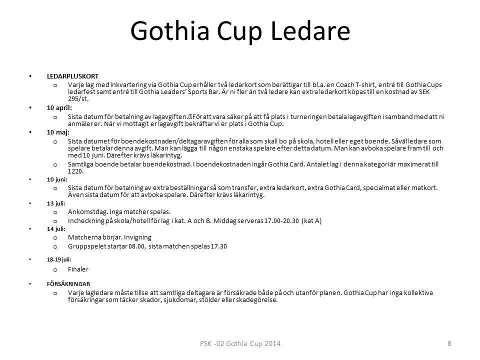 Gothia Cup Ledare LEDARPLUSKORT o Varje lag med inkvartering via Gothia Cup erhåller två ledarkort som berättigar till bl.a.