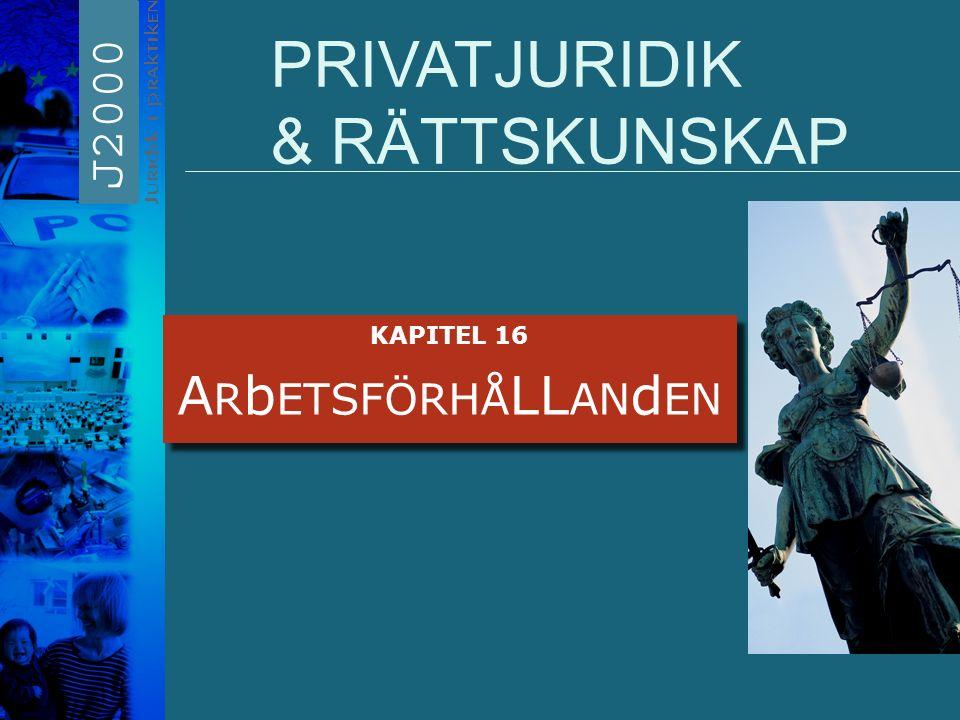 PRIVATJURIDIK & RÄTTSKUNSKAP KAPITEL 16 A R b ETSFÖRHÅ LL AN d EN KAPITEL 16 A R b ETSFÖRHÅ LL AN d EN