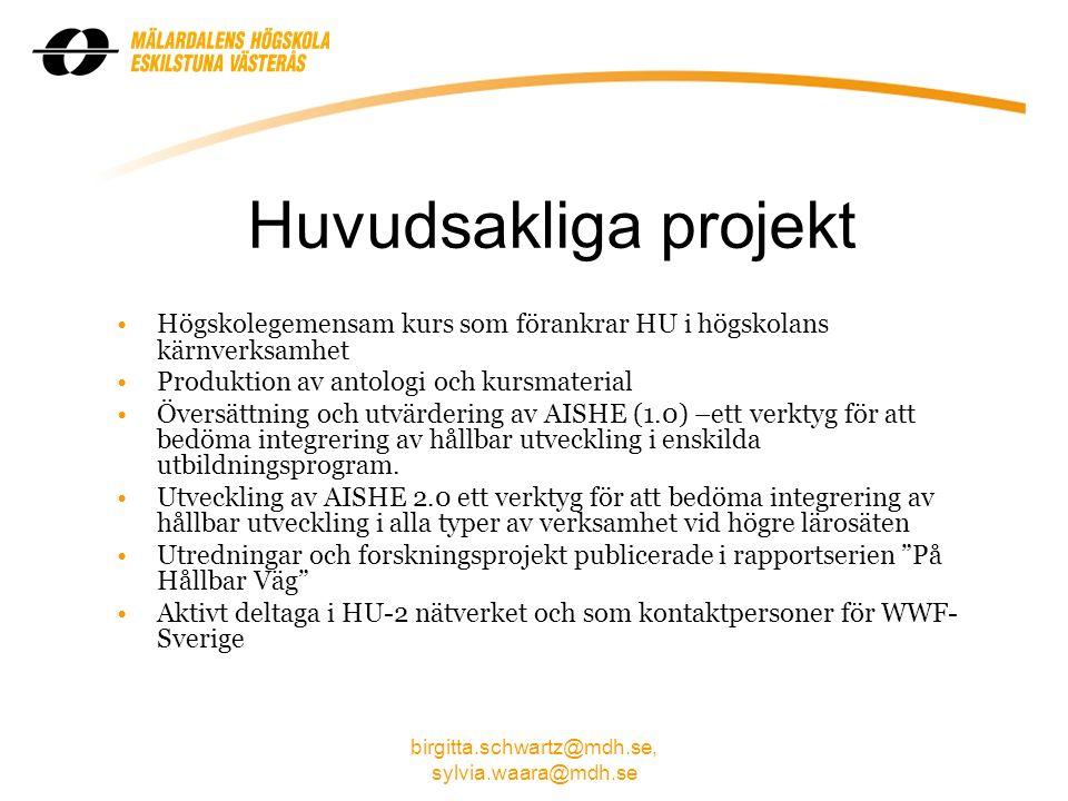 birgitta.schwartz@mdh.se, sylvia.waara@mdh.se Högskolegemensam kurs Hållbar utveckling: en mång- vetenskaplig introduktion Kurs har tagits fram i workshops under 2008, 2009 och fortsätter 2010 med lärare från olika discipliner på MDH Fristående och webbaserad till svenska studenter, 7,5 hp – start VT 2011