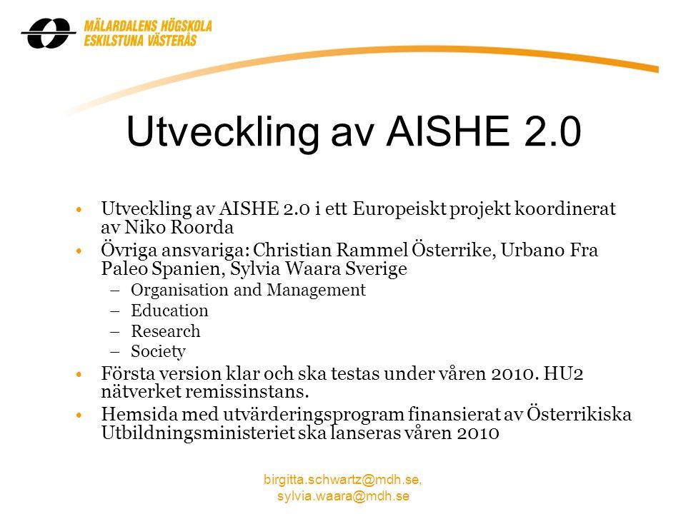 birgitta.schwartz@mdh.se, sylvia.waara@mdh.se Rapporter utgivna inom HU- profilarbetet Omvärldsanalys av forskarutbildningar och utbildning på avancerad nivå inom området Hållbar utveckling (2008) av Lena Widefjäll.