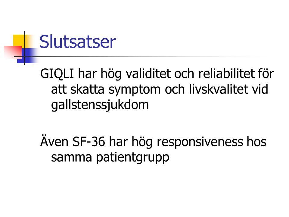 Slutsatser GIQLI har hög validitet och reliabilitet för att skatta symptom och livskvalitet vid gallstenssjukdom Även SF-36 har hög responsiveness hos samma patientgrupp