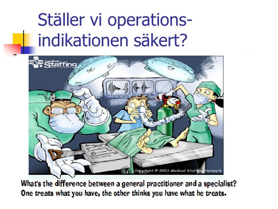 Ställer vi operations- indikationen säkert