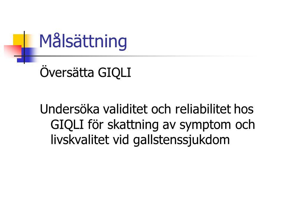 Målsättning Översätta GIQLI Undersöka validitet och reliabilitet hos GIQLI för skattning av symptom och livskvalitet vid gallstenssjukdom