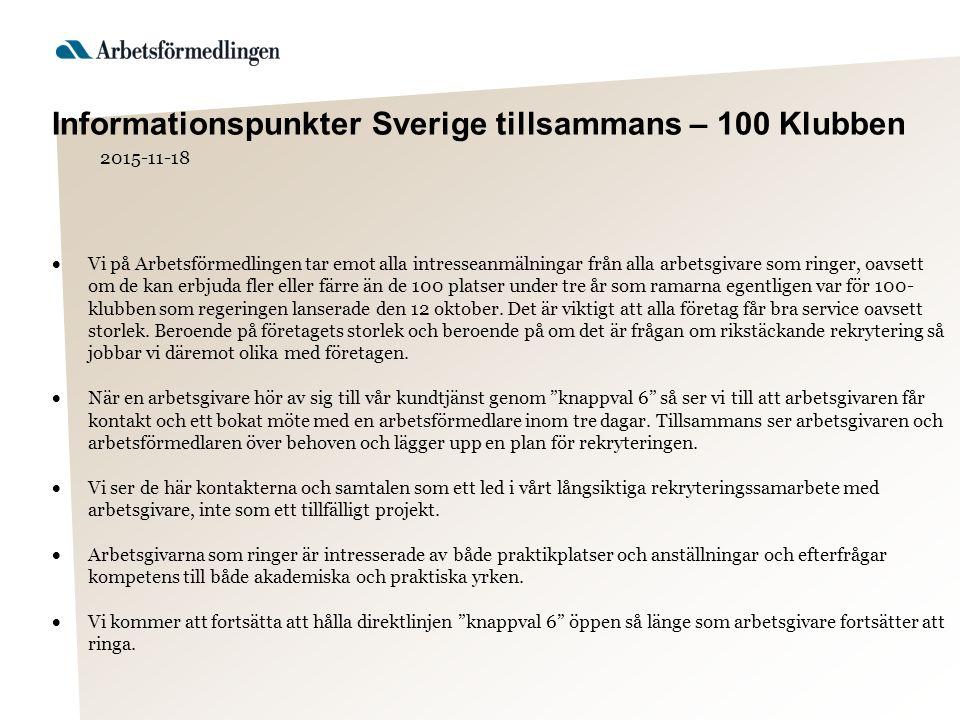 Informationspunkter Sverige tillsammans – 100 Klubben 2015-11-18  Vi på Arbetsförmedlingen tar emot alla intresseanmälningar från alla arbetsgivare som ringer, oavsett om de kan erbjuda fler eller färre än de 100 platser under tre år som ramarna egentligen var för 100- klubben som regeringen lanserade den 12 oktober.