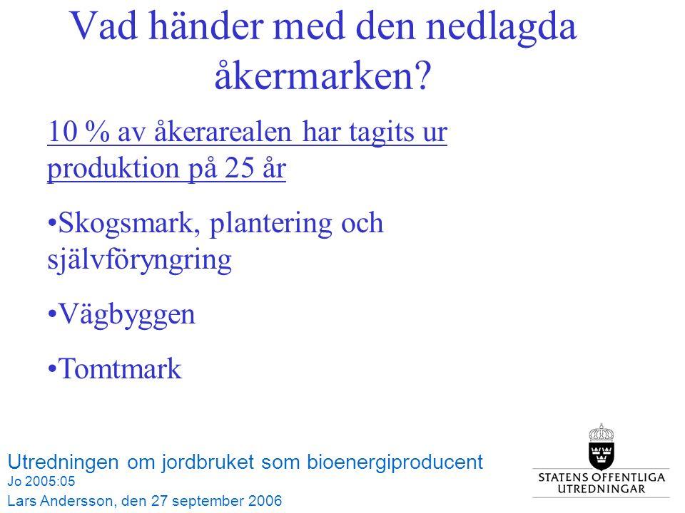 Utredningen om jordbruket som bioenergiproducent Jo 2005:05 Lars Andersson, den 27 september 2006 Tabell 3.1 Åkerarealens användning 1990-2006, hektar Vad händer med den nedlagda åkermarken.