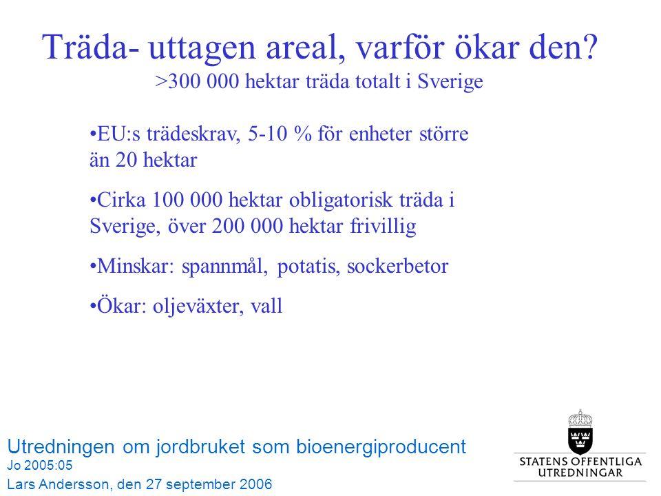 Utredningen om jordbruket som bioenergiproducent Jo 2005:05 Lars Andersson, den 27 september 2006 Tabell 3.1 Åkerarealens användning 1990-2006, hektar Träda- uttagen areal, varför ökar den.