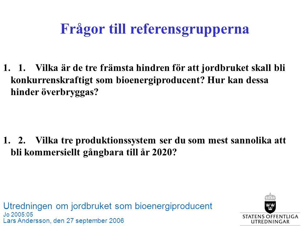 Utredningen om jordbruket som bioenergiproducent Jo 2005:05 Lars Andersson, den 27 september 2006 Källa: SCB och Jordbruksverket Frågor till referensgrupperna 1.1.