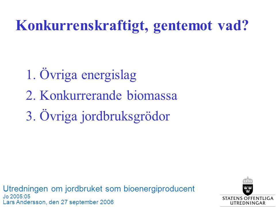 Utredningen om jordbruket som bioenergiproducent Jo 2005:05 Lars Andersson, den 27 september 2006 Källa: SCB och Jordbruksverket 1.