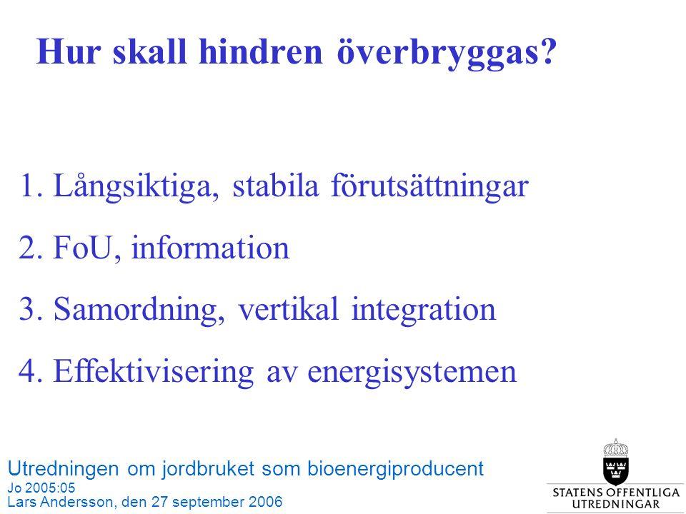 Utredningen om jordbruket som bioenergiproducent Jo 2005:05 Lars Andersson, den 27 september 2006 Källa: SCB och Jordbruksverket 1.Långsiktiga, stabila förutsättningar 2.FoU, information 3.Samordning, vertikal integration 4.Effektivisering av energisystemen Hur skall hindren överbryggas