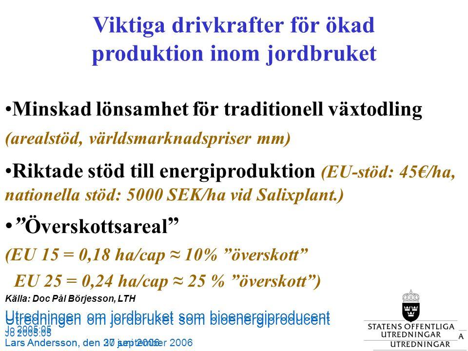 Utredningen om jordbruket som bioenergiproducent Jo 2005:05 Lars Andersson, den 27 september 2006 Källa: SCB och Jordbruksverket Utredningen om jordbruket som bioenergiproducent Jo 2005:05 Lars Andersson, den 30 juni 2006 Viktiga drivkrafter för ökad produktion inom jordbruket Minskad lönsamhet för traditionell växtodling (arealstöd, världsmarknadspriser mm) Riktade stöd till energiproduktion (EU-stöd: 45€/ha, nationella stöd: 5000 SEK/ha vid Salixplant.) Överskottsareal (EU 15 = 0,18 ha/cap ≈ 10% överskott EU 25 = 0,24 ha/cap ≈ 25 % överskott ) Källa: Doc Pål Börjesson, LTH