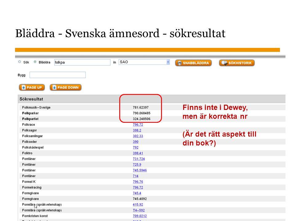 Sidnummer 2015-10-26 Bläddra - Svenska ämnesord - sökresultat Finns inte i Dewey, men är korrekta nr (Är det rätt aspekt till din bok?) 14