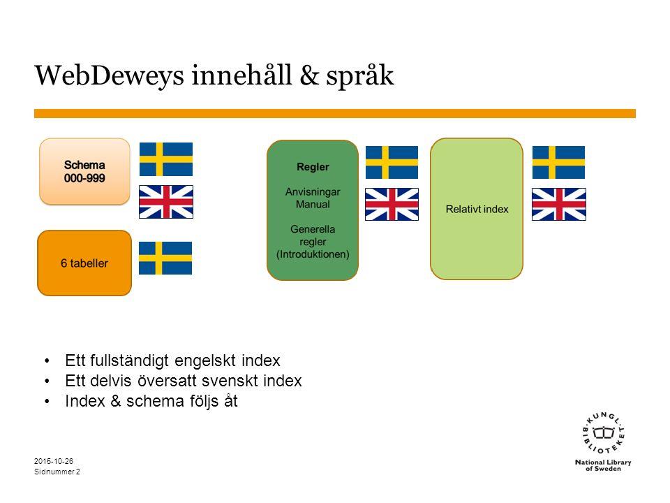 Sidnummer WebDeweys innehåll & språk 2015-10-26 2 Ett fullständigt engelskt index Ett delvis översatt svenskt index Index & schema följs åt