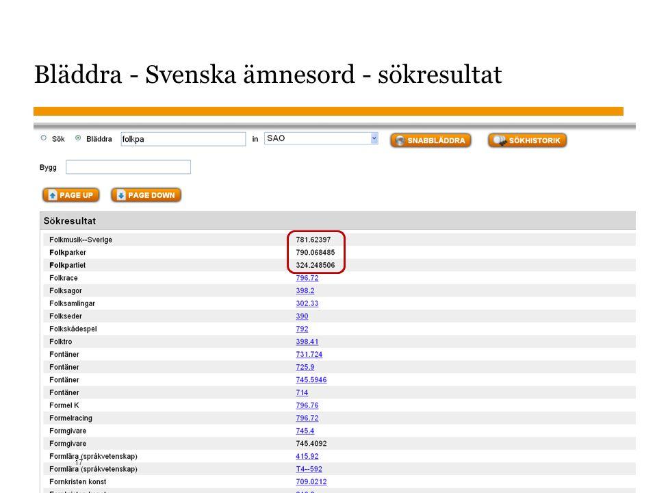 Sidnummer 2015-11-02 Bläddra - Svenska ämnesord - sökresultat 17