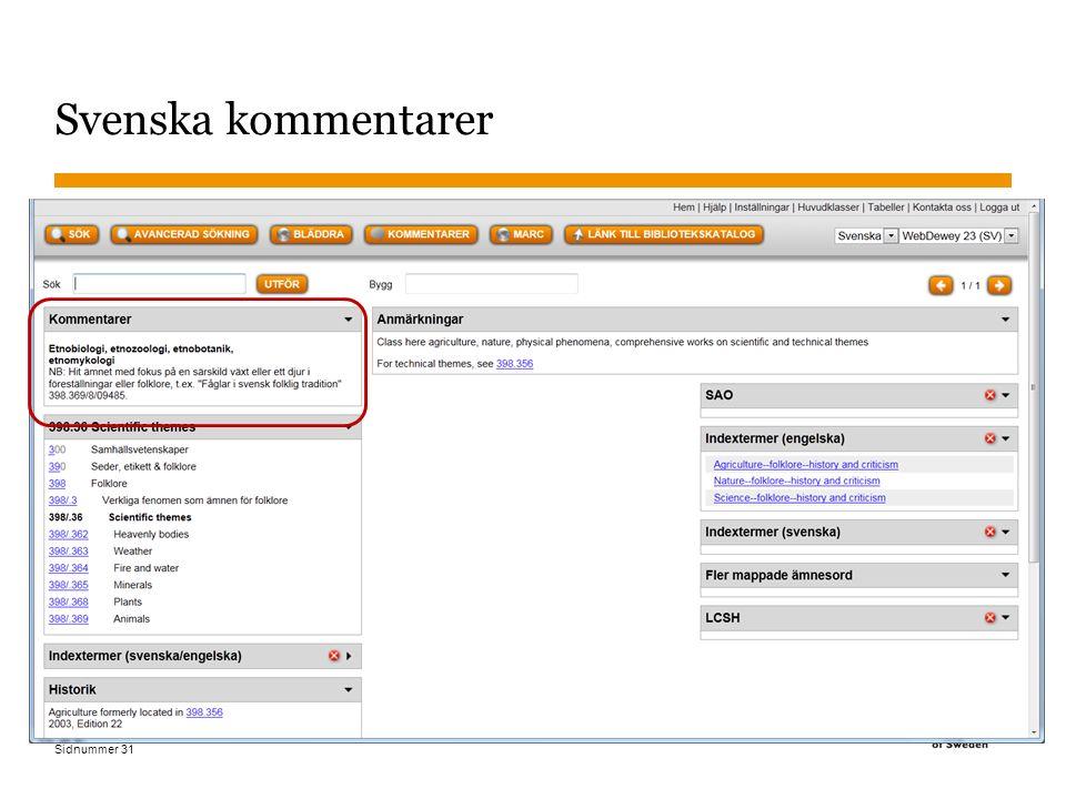 Sidnummer Svenska kommentarer 2015-11-02 31