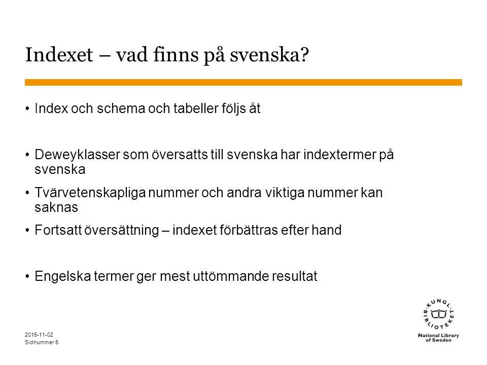 Sidnummer 2015-11-02 Indexet – vad finns på svenska? Index och schema och tabeller följs åt Deweyklasser som översatts till svenska har indextermer på