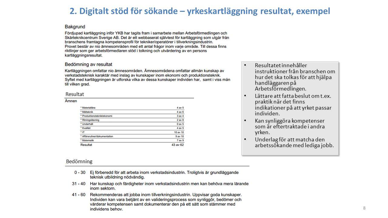 8 2. Digitalt stöd för sökande – yrkeskartläggning resultat, exempel Resultat Bedömning