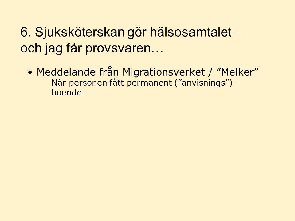 Meddelande från Migrationsverket / Melker –När personen fått permanent ( anvisnings )- boende 6.