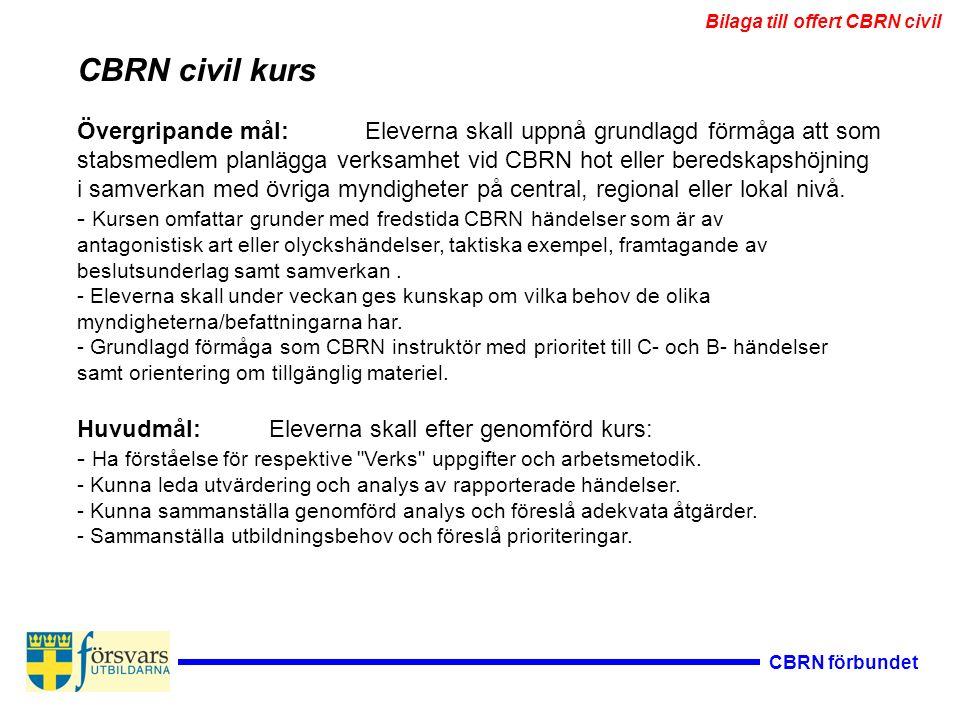 CBRN förbundet Övergripande mål:Eleverna skall uppnå grundlagd förmåga att som stabsmedlem planlägga verksamhet vid CBRN hot eller beredskapshöjning i samverkan med övriga myndigheter på central, regional eller lokal nivå.